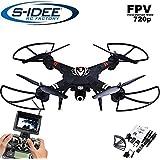 s-idee® 01660 Quadrocopter S303 FPV 5.8 Ghz Übertragung HD Kamera Höhenstabilisierung, Drohne mit One Key Return, Coming Home / Headless Mode, VR möglich, Drohne 360° Flip Funktion, 2.4 GHz mit Gyro, 4-Kanal, 6-AXIS System Drone mit Camera 720p
