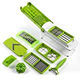 #10: Frokht Kitchens Vegetable and Fruit Chopper,Set of 10 in 1,Green