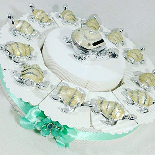 Sindy bomboniere bomboniere battesimo comunione cresima tartaruga glitter - torta bomboniera 12 fette + 12 tartarughe + 1 tartaruga salvadanaio + confetti apr