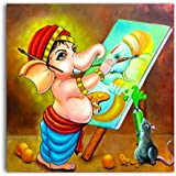 Tamatina Canvas Paintings - Bal Ganesha - Modern Ganesha - Lord Ganesha Paintings - Ganesh Paintings For Wall - Modern Art Paintings - Paintings For Home Décor - Wall Paintings For Home Decoration - Paintings For Bedroom - Paintings For Living Room