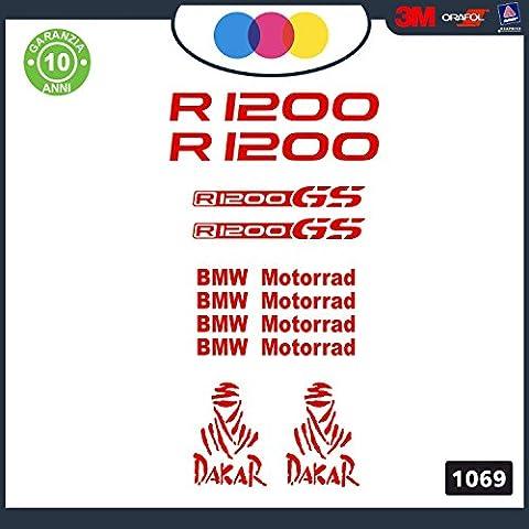 Adesivi Stickers BMW R1200 GS rally touring Kit 10pz Moto Cod. 1067 (rosso)