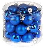 Weihnachtsbaumkugeln Weihnachtskugeln Christbaumkugeln Weihnachtsschmuck Baumschmuck Glas 2,5cm Set 24 Stück (matt + glänzend dunkelblau)