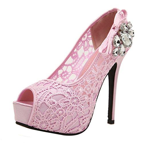 UH Femmes Escarpins Peep Toe Dentelle de High Heel Stiletto avec Strass et Plateform Confortable Rose
