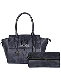 Butterflies Women Handbag And Clutch Combo's (Blue) (BNS WB0370) (Pack Of 2)