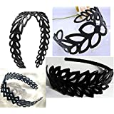 DMtse Set Of 4 X Black Plastic Different Styles Hollow Leaf Decor Wide Hairstyle Headband Hair Hoop For Girl