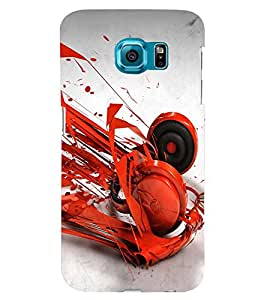 PRINTSWAG RED HEADPHONES Designer Back Cover Case for SAMSUNG GALAXY S6 EDGE