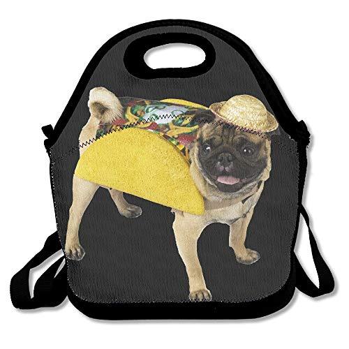 Mops Taco Kostüm - lustige Deluxe Handtasche tragbare Lunchbox Lunchbox Lunchbox Tasche für Schule Reisen Arbeit Outdoor (Mops Lustig Kostüme)