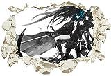 Unified Distribution Anime & Manga - Black Rock Shooter - Wandtattoo mit 3D Effekt, Aufkleber für Wände und Türen Größe: 92x61 cm, Stil: Durchbruch