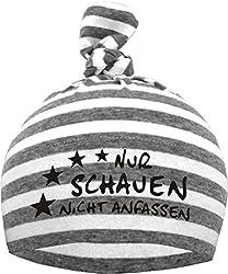 KLEINER FRATZ Baby 1-Zipfel Mütze (Farbe grau/weiss) (Gr. 2 (74-98)) Nur schauen nicht anfassen/FAT