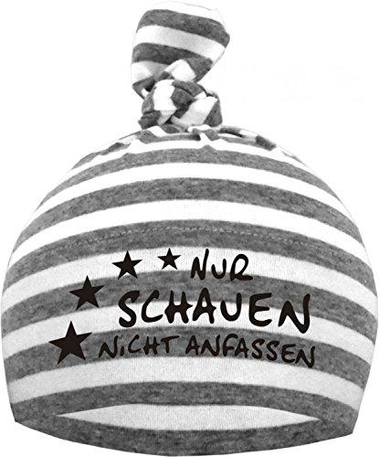 KLEINER FRATZ Baby 1-Zipfel Mütze (Farbe grau/weiss) (Gr. 1 (0-74)) Nur schauen nicht anfassen/FAT