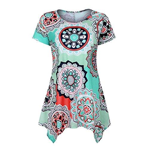 (TUDUZ Sommer Damen Eegant Tops Kurzarm Swing Boho Retro Tunika Blumen Flare Tee Bluse Shirt (Grün, S))