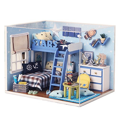 , Starry Sky Cabin Model Handcraft Miniature Kit with Music box and Dust Proof Cover ()
