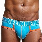 Brezeh Mens Soft Cotton Sexy Underwear Shorts Men Classic Briefs Underpants (M, Sky Blue)