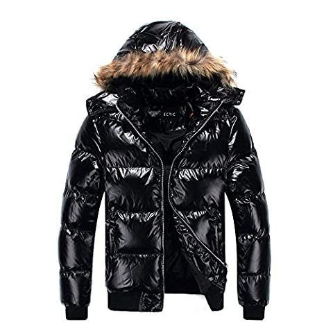 ECTIC 2017 Winter new 100% Down Outerwear Coats Men Down jackets D3621 (M, BLACK)