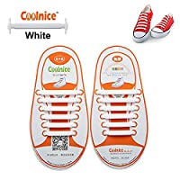 Elastic Laces for Kids White by Coolnice® 12pcs - Easy Clean No Tie Elastic ShoeLaces Sneaker - Long Lasting Colour of White