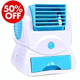 All Weather Portable wide fan mini air cooler with water cooling and USB power cable for desk table by Meya Happy ( Random Colors Only )