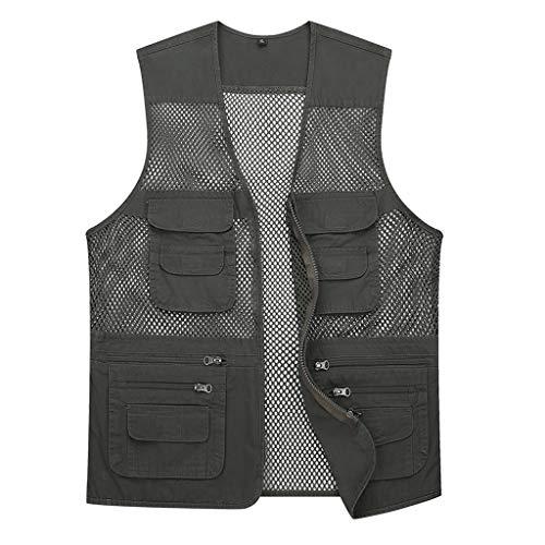 Netz Multi Pockets Weste,Angeln Fotografie Vest Baumwolle Bequeme Outdoor Gilet Männer Ä