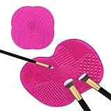 TASIPA Big Size Maquillage Nettoyant pour brosse, Set de 2 Set de nettoyage de brosse cosmétique avec ventouses, Tapis de nettoyage pour brosse et maquillage (Rose)