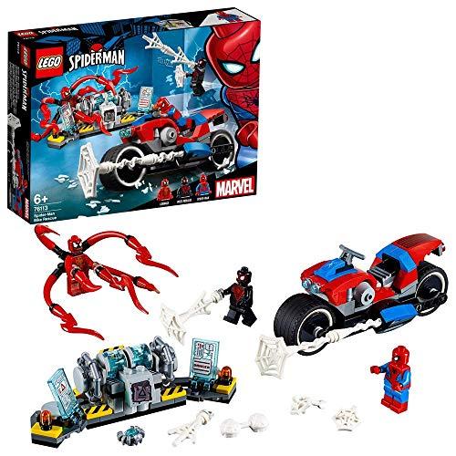 LEGO Super Heroes Rescate en Moto de Spider-Man, juguete de construcción de las aventuras del Hombre Araña, incluye un Cañón Arácnido (76113)