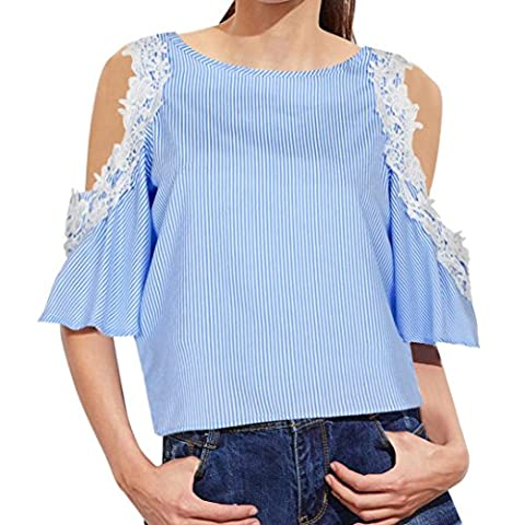 Women Stylish T Shirt ,Vovotrade® Summer Striped Shirt Cold Shoulder Lace Top Blouse (XL, Blue)