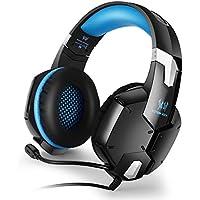 Gaming Headset, KOTION EACH G1200 3,5 Millimetri di Gioco Auricolare Fascia con Microfono Stereo Bass per PS4 PC Computer Portatile Cellulari - Nero + Blu - Inoltre Pickup