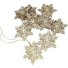 oulii sharp de pcs hexagonal madera copo de nieve adornos de rbol de navidad ornamento
