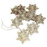 OULII Sharp de 10pcs Hexagonal madera copo de nieve, adornos de árbol de navidad ornamento, colgante colgantes decoración de Navidad (Color madera)