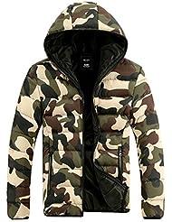 Demarkt Capa de la chaqueta de camuflaje Unisex invierno Outwear Espesar algodón (Verde, M)