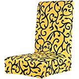Cubierta Funda Protectora Extraíble Estirable para Silla Taburete de Comedor (amarillo)
