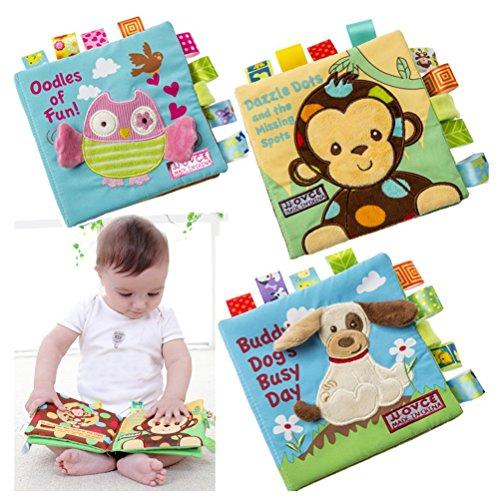 Quner Baby Tuch-Buch ,Tier Stickerei Stoffbuch, Kinder Frühes Lernen Pädagogische Spielbuch für 0-6-jährige, Ein Satz von 4 (16*16cm / 6.3*6.3 Zoll) -