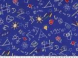 ab 1m: Baumwolldruck, Schule-Graffiti, blau, 140cm breit