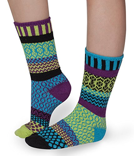 Solmate Socks - Odd or Mismatched Crew Socks for Women or for Men, Made with Recycled Cotton Yarns in USA, Equinox XL