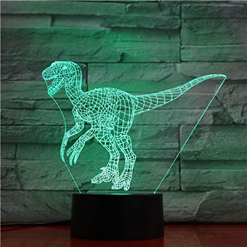 wangZJ Lámpara de ilusión 3d / Luz de noche led 3d / 7 colores Cambio automático Interruptor táctil Lámparas de decoración de escritorio/Dinosaurio azul