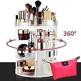 LIVEHITOP Organizador de Maquillaje 360° Giratorio, Grande Capacidad Acrilico Transparente Cosméticos Organizadores con Bolso para Dresser Baño, Regalo para Niñas Mujeres