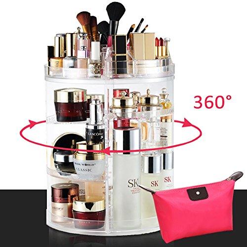 LIVEHITOP Make Up Halter Drehbar Kosmetik Organizer Acryl, 360 Grad Drehung Schmink Aufbewahrung Große Kapazität mit Tasche Geschenk Zubehör für Mädchen Frau Schminktisch Badezimmer (Make-up-halter)