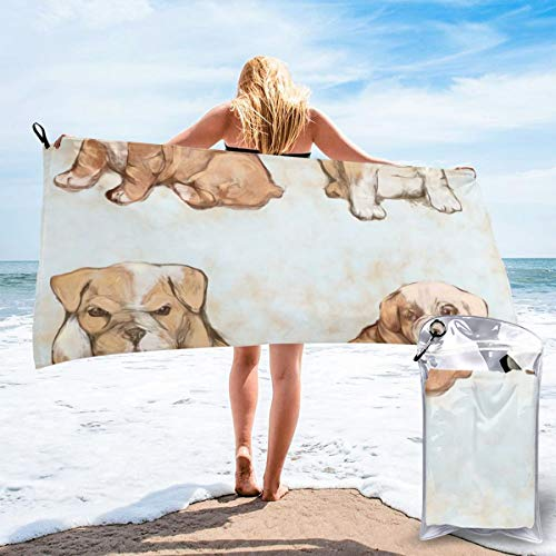 Fun Life Art Fast Quick Dry Towel,Sports & Beach Towel.Grumpy and Shy Bulldog Pups Suitable for Camping, Gym, Yoga,Swimming,Travel,Hiking,Backpacking.
