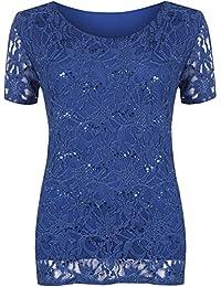 Islander Fashions Womens Sequin Floral Lace Pattern Top Ladies Fancy Manga Corta Party Wear Shirt ES 40-54