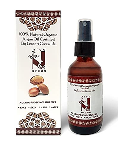 100% Pure Genuine Eco-Certified Argan Oil for Beautiful Skin & Hair, 120 ml big volume bottle with comfortable to use a pump dispenser