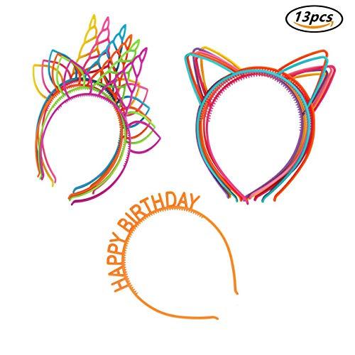 Candygirl Diademas de Orejas de Gato Niñas Niños Diadema de Plástico Unicornio,Disfraces o Fiestas, Multicolor