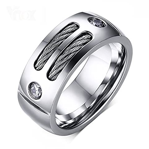 Heyrock Men's Ring Stainless Steel Punk Rock Ring With Wire Cubic Zirconia Party Jewelry