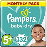 Pampers Baby-Dry 132 Nappies with 3 Absorbing Channels, 13 - 25 kg, Size 5+