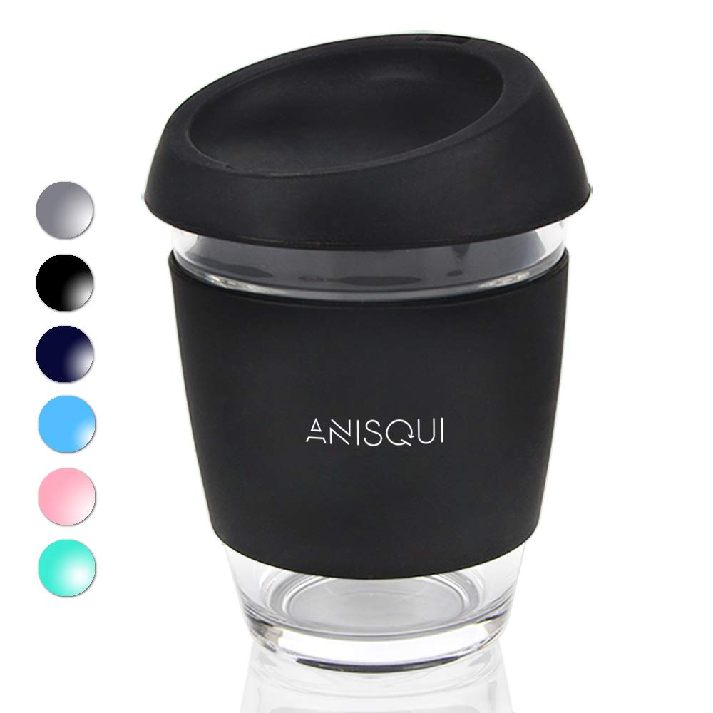 Eco-Friendly-Reusable-Coffee-Cup-Glass-12oz-350ml-BPA-Free-Eco-Silicone-Lid-Portable-Coffee-Cup-with-lid-Glass-Travel-Mug-by-AniSqui