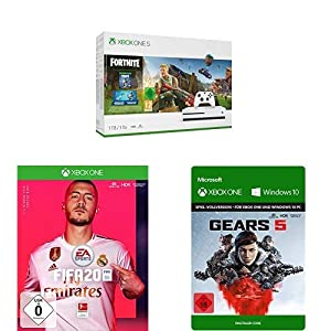 Microsoft Xbox One S 1TB – Fortnite Bundle (inkl. Fortnite: Battle Royale, EON Skin-Set und 2.000 V-Bucks) + FIFA 20 + Gears 5