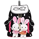 #7: SNDIA Canvas Printed Cute Teddy Backpack for Girls and Women Stylish College/Tuition Bag Spacious Striped Shoulder Bag–(Variant Design)
