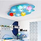 CWJ Deckenleuchte - führte einfache Moderne Cartoon-Kinder 'Zimmer kreative Persönlichkeit Holzdecke Licht Baby Zimmer Schlafzimmer Deckenleuchte (Farbe optional) -Home warme Deckenleuchte,Blau