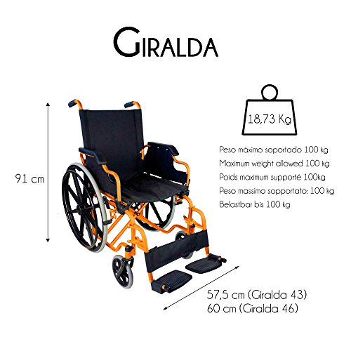 Mobiclinic Silla de Ruedas Plegable, Autopropulsable