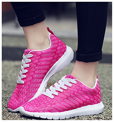 NEWZCERS Unisex léger respirant maille running trainers athlétique marche gym sport chaussures Rose