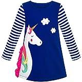 Mädchen Kleid Baumwolle Lange Ärmel Einhorn Stickerei Marine Blau Gr. 104