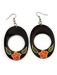 Idin Jewellery - Eye-catching black and orange zebra inspired disc wooden drop earrings