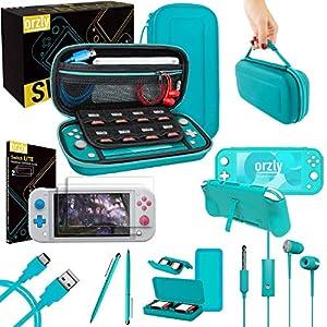 Switch Lite Accesoires, Orzly Zubehör für Nintendo Switch Lite (2019) Panzerglas Schutzfolien, USB Ladekabel, Konsole…